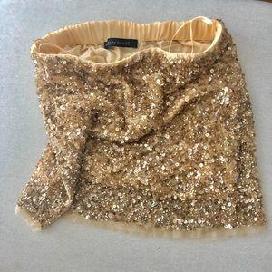 Zara Gold Sequined Skirt, Size XS